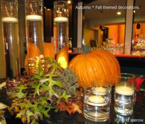 Atumn and Fall themed decor plus silent auction and press clips