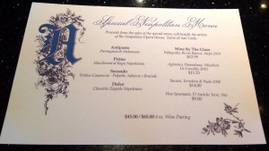 Special Neapolitan Menu at  Angelino's Restaurant in Sausalito